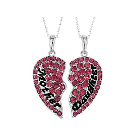 Mom Pink Heart (Mother Daughter Heart Necklace Set Pink Crystal Pendants Girls Ladies 19