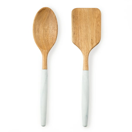 Thyme and Table 2-Piece Acacia and Silicone Marble Kitchen Utensil -