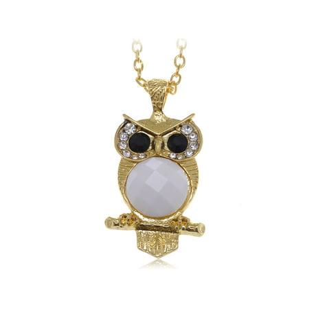 Cute Big Black Eyed White Belly Owl Clear Rhinestone Gold Tone Fashion Necklace (Burgundy Rhinestone Necklace)