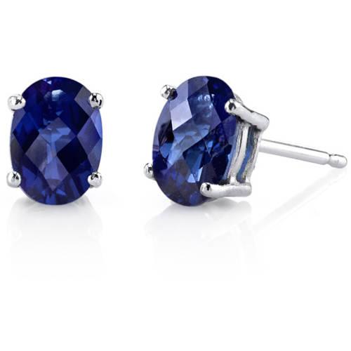 2.00 Carat T.G.W. Oval-Cut Created Blue Sapphire 14kt White Gold Stud Earrings