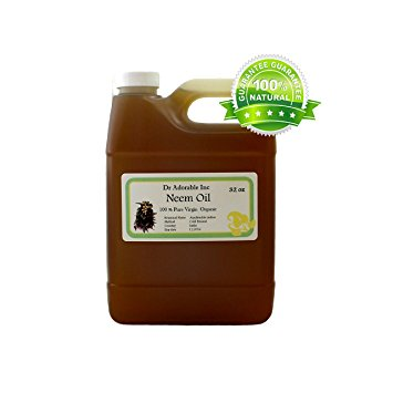 Dr. Adorable - 100% Pure Neem Oil Organic Unrefined Cold Pressed Natural - 32 oz