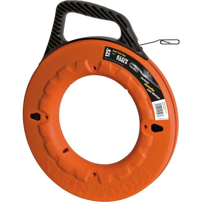 Klein Tools 1/8'' (3 mm) Wide Steel Fish Tape - 125' (38 m) - Polypropylene, Steel - 4.70 lb - Durable, Shock Resistant, Impact Resistant, Heavy Duty