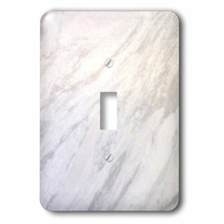 3dRose Gray marble print texture photo print - smooth white and light grey marbled stone look graphic, Single Toggle Switch