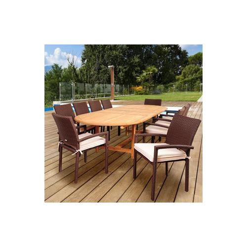 Amazonia Teak Amazonia Ravello 11-piece Teak / Synthetic Wicker Double Extendable Oval Patio Dining Set with Off-white Cushions