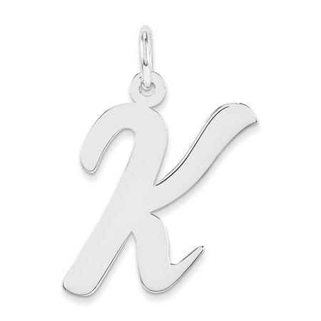 925 sterling silver fancy script initial letter k charm pendant 21mm