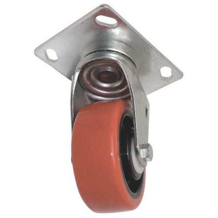 GENIE 57734GT Swivel Caster,Red,4 in. x 1-1/2 in. -