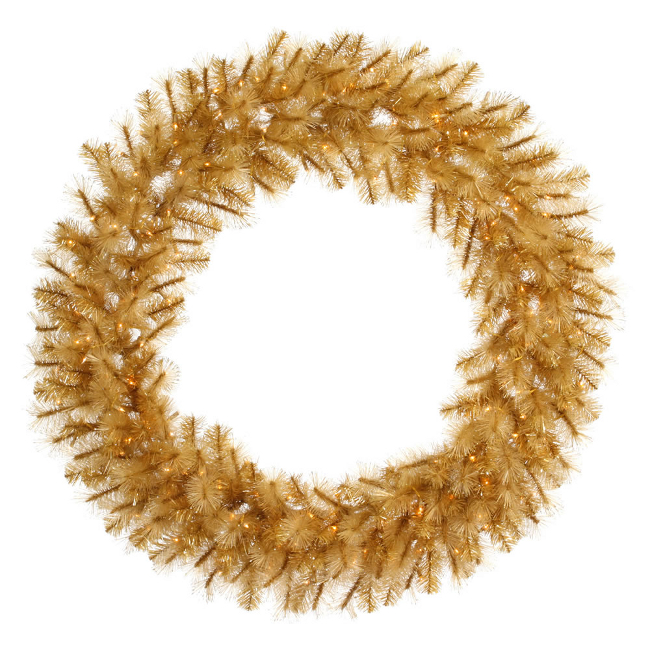 "30"" Pre-Lit Gold Glitter Cashmere Artificial Christmas Wreath - Clear Lights"