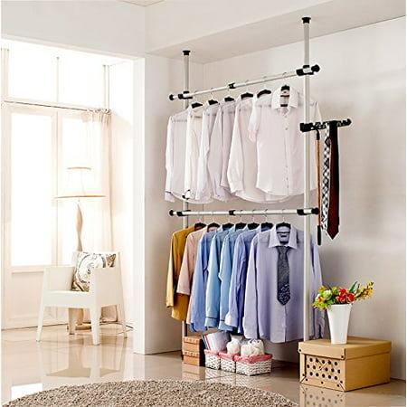Adjustable Garment Hanger Clothes Rack, Estink Portable 4 Poles Heavy-Duty  Garment Rack Tool, Free DIY Simple Closet Wardrobe for Bedroom Home