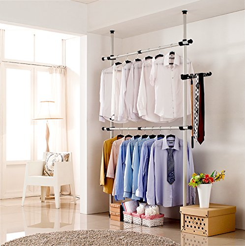 Adjustable Garment Hanger Clothes Rack, Estink Portable 4 Poles Heavy-Duty Garment Rack Tool, Free DIY Simple Closet Wardrobe for Bedroom Home