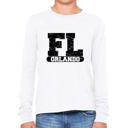 Orlando, Florida FL Classic City State Sign Boy's Long Sleeve T-Shirt - Party City In Orlando Fl