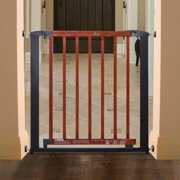 Dreambaby L881 Windsor Auto Close Security Gate -Charcoal Metal with Cherry Color Wood