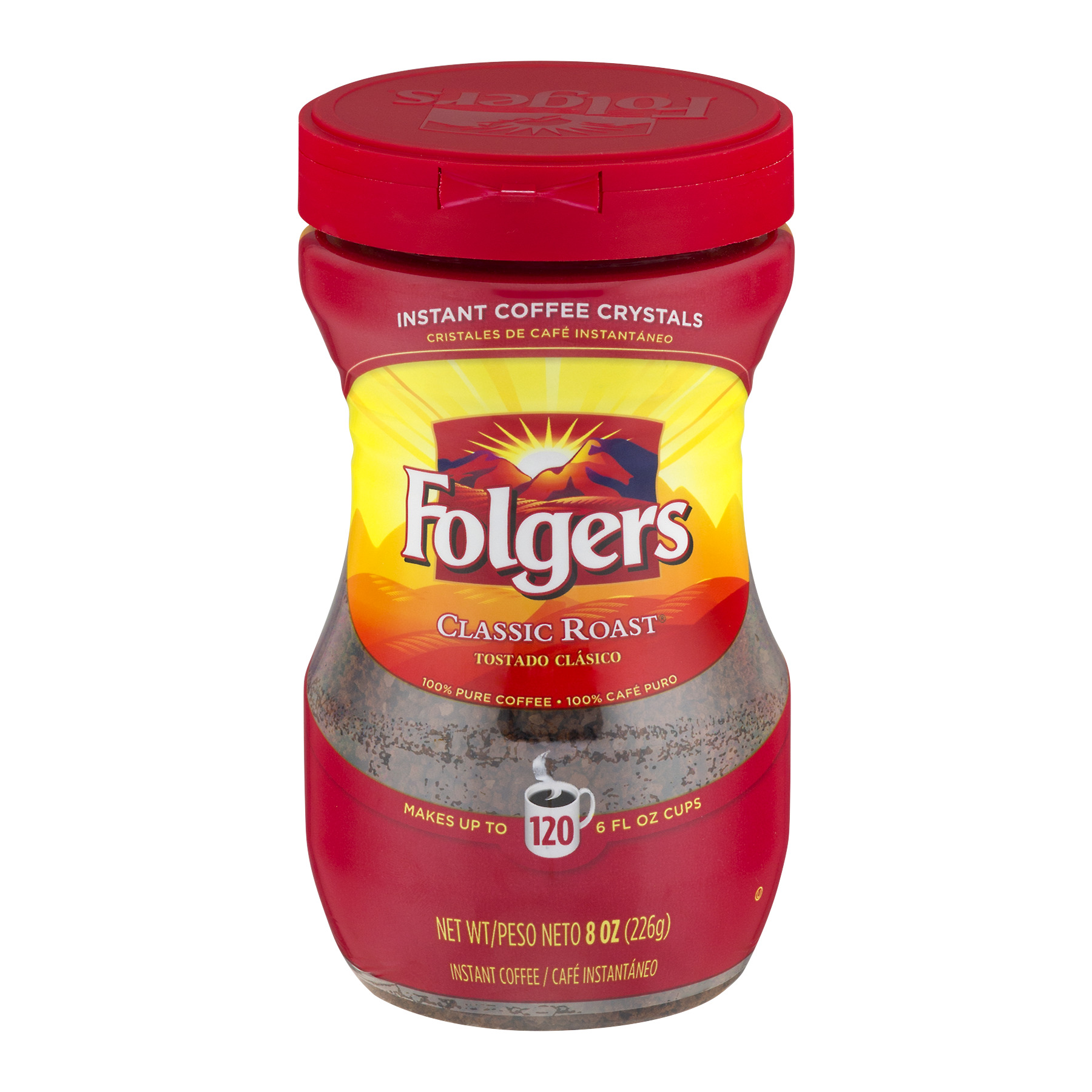 Folgers Instant Coffee Crystals Classic Roast, 8.0 OZ