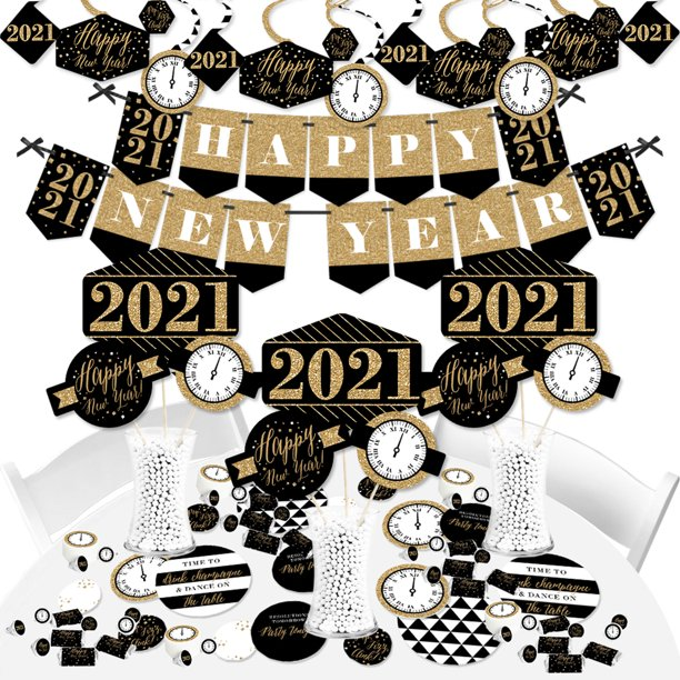 New Year S Eve Gold 2021 New Years Eve Party Supplies Banner Decoration Kit Fundle Bundle Walmart Com Walmart Com