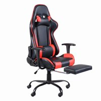 Viugreum High Back Swivel Chair Racing Gaming Chair Office Chair with Footrest Tier Black & Red