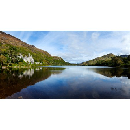 Abbey On The Banks Of Fannon Pool Kylemore Abbey Connemara County Galway Republic Of Ireland Canvas Art   Panoramic Images  27 X 9