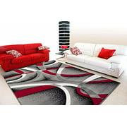 2305 Gray Black Red White Swirls 7'10 x 10'6 Modern Abstract Area Rug Carpet