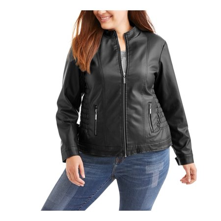 002cb60c296 Women s Plus Smocked Waist Faux Leather Fashion Jacket. Average  rating 4.25out of5stars