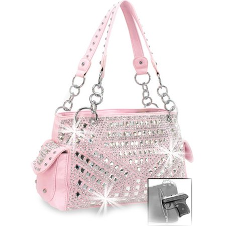 Zzfab Gem Studded Rhinestone Concealed and Carry Purse Pink