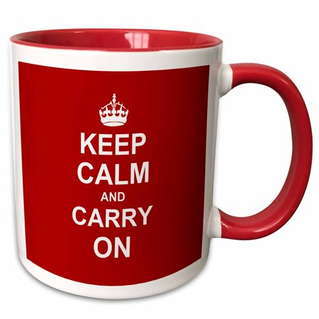 3dRose Keep Calm and Carry On - white text on vintage classic dark red - crown motivational fun funny humor - Two Tone Red Mug,