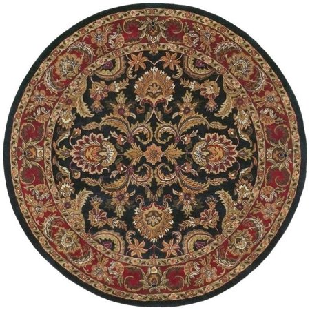 Surya Ancient Treasures 8' x 8' Round Hand Tufted Wool Black Red Rug 8' Round Wool Rug