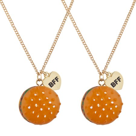 Lux Accessories Hamburger Fast Food Novelty BFF Best Friends Necklace Set