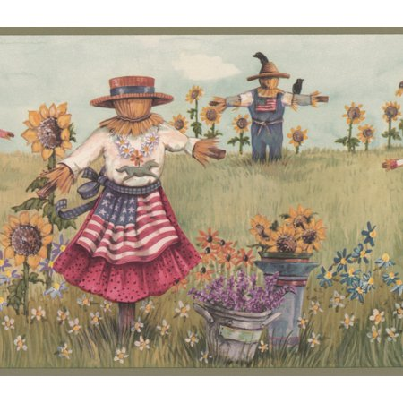 Vintage Scarecrows With American Flags On The Sunflower Field