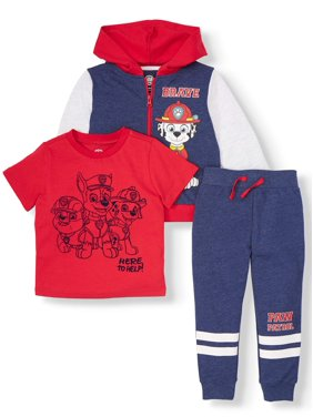 Paw Patrol Toddler Boy Zip Up Hoodie, Short Sleeve Graphic T-shirt & Drawstring Joggers, 3pc Outfit Set
