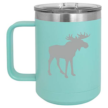 15 oz Tumbler Coffee Mug Travel Cup With Handle & Lid Vacuum Insulated Stainless Steel Moose - Teak Handle