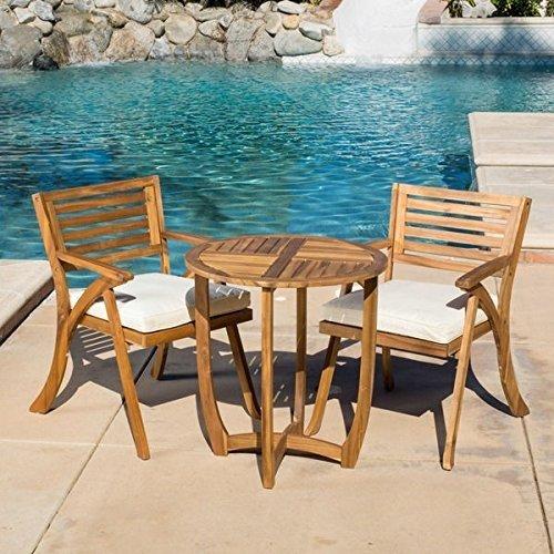 Patio Furniture Sets Outdoor Bistro Sets Brown Contemporary Modern Coronado Outdoor 3 Piece Acacia Wood Round Bistro Set With Cushions Walmart Com Walmart Com