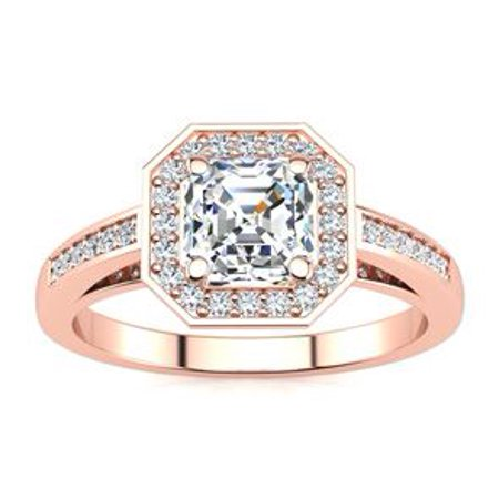 1 1/4 Carat Asscher Cut Halo Diamond Engagement Ring In 14 Karat Rose Gold