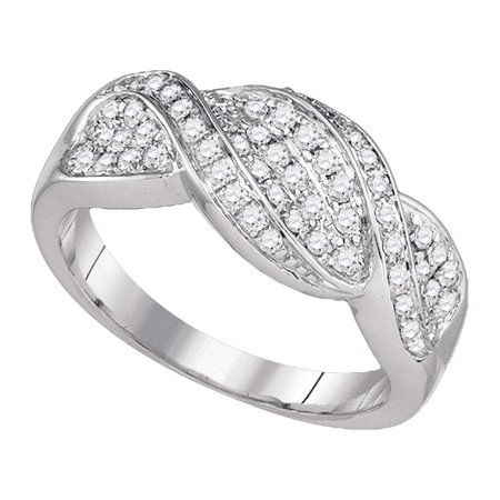 14K White Gold Womens Round Diamond Crossover Band Ring 1 2 Cttw