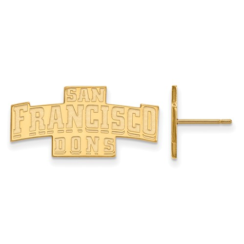 Sterling Silver w/ 14K Yellow Gold-Plated LogoArt Official Licensed Collegiate University of San Francisco (USF) Small Post Earring