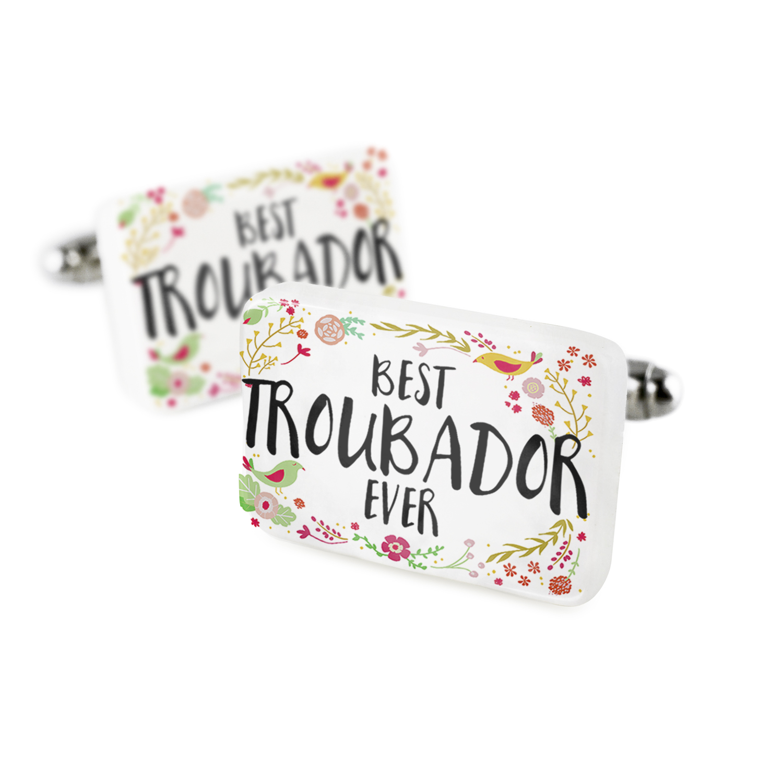 Cufflinks Happy Floral Border Troubador Porcelain Ceramic NEONBLOND