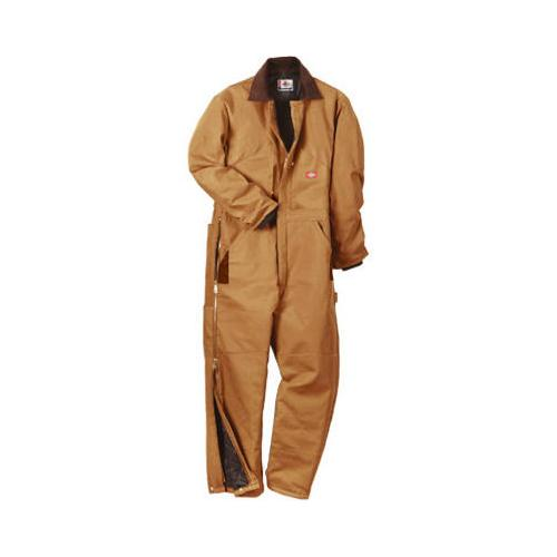 Williamson Dickie Mfg TV239BDLR Insulated Coveralls, Regular Fit, Brown Duck, Men's Large