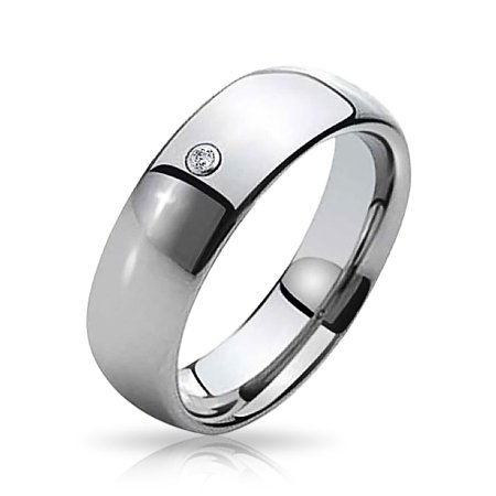 Simple .10 Ct CZ Accent Dome Couples Wedding Band Tungsten Ring For Men For Women Silver Tone Comfort Fit 8MM - image 5 of 5