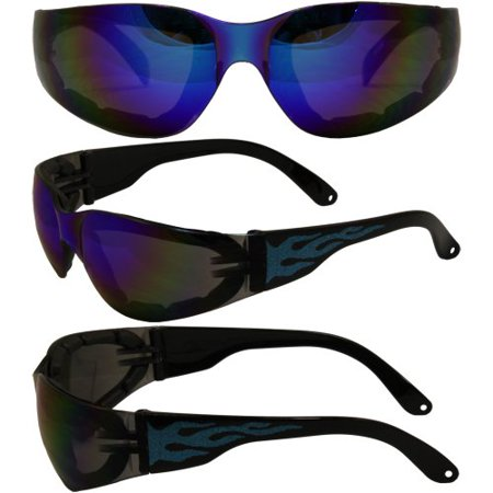 Global Vision Eyewear Rider Flame G-Tech Blue Sunglasses RIDER FL GT (Blue Tech Sunglasses)