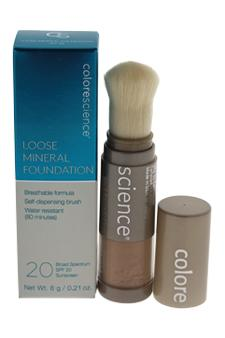 Colorescience Loose Mineral Foundation Brush Spf 20 - Tan Natural Foundation For Women  0.21 oz