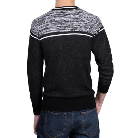 Allegra K Men Crew Neck Contrast Stripes Knitted Long Sleeves Sweaters Pullover - image 3 de 7