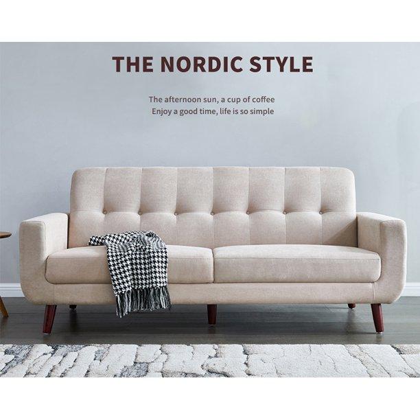 Beige Mid Century Modern Sofa 79 W