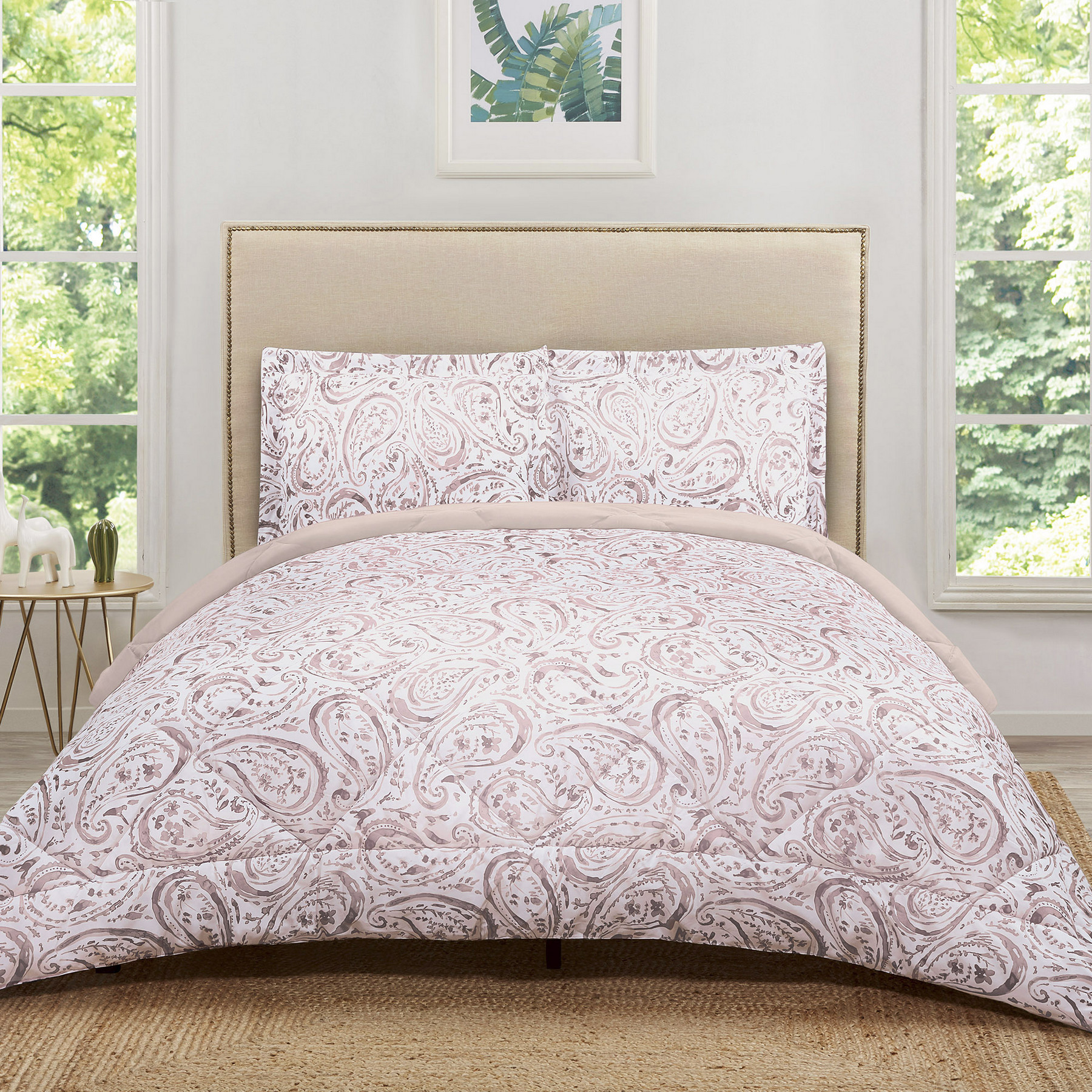 Truly Soft Watercolor Paisley Eggplant Twin Extra Long Comforter Set