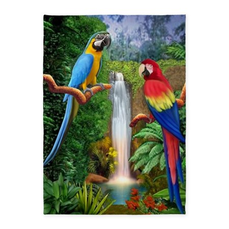 Polyester Tropical Rug (CafePress - Macaw Tropical Parrots - 5'x7'Area Rug )