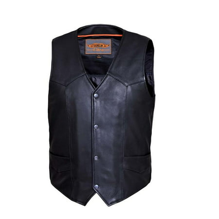 Plain Motorcycle Vest (Mens Ultra Snap Front Motorcycle Vest with Plain Sides )