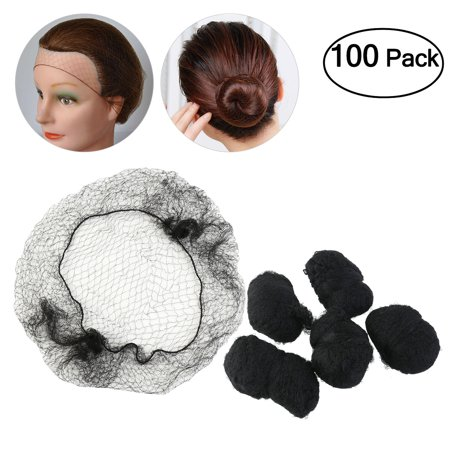 Pixnor 100Pcs Invisible Elastic Hair Net Edge Mesh Fix Hair for Hospital Lab Manufacturing Restaurant Food service(Black) (Invisible Net)