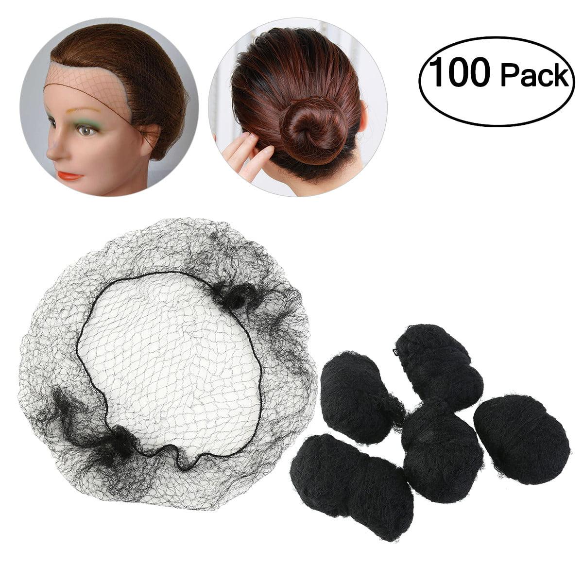 TINKSKY 100pcs Hair Nets Invisible Elastic Edge Mesh (Black)