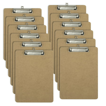 Officemate OIC Letter Size Wood Clipboards, Low Profile Clip, 12 Pack Clipboard, Brown (83812) - Clap Boards