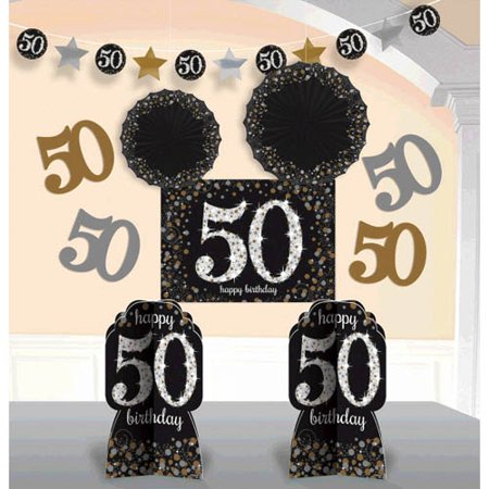 Over the Hill 'Sparkling Celebration' 50th Birthday Room Decorating Kit (10pc)