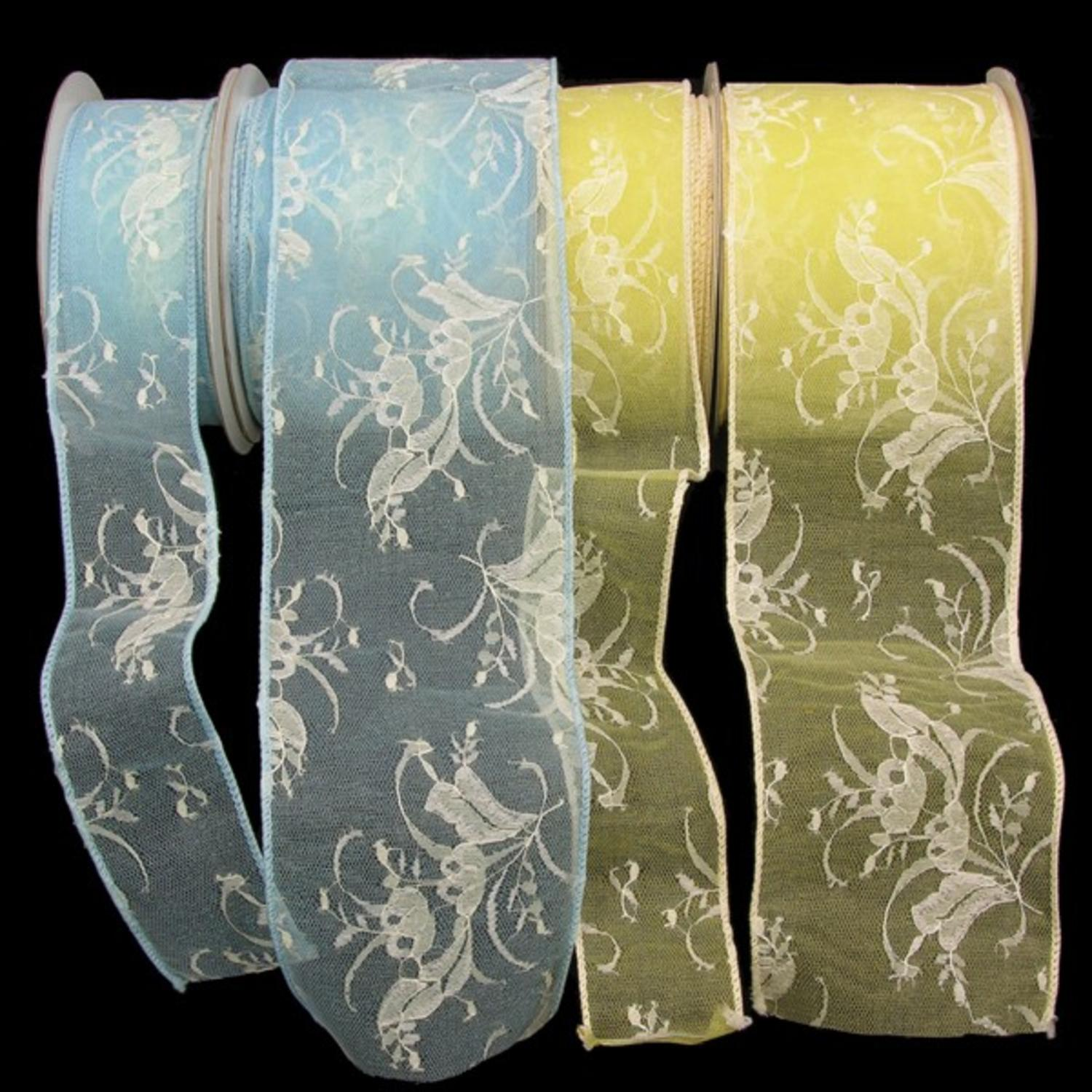 "Light Blue Floral Lace Wired Craft Ribbon 4"" x 20 Yards"