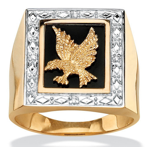 Palm Beach Jewelry Men's Diamond Accent Onyx Eagle Ring