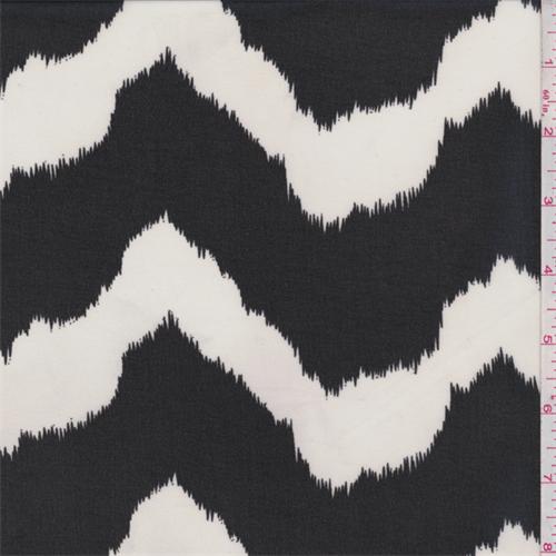Black/Ecru Flamestitch Chevron Chiffon, Fabric By the Yard