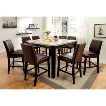Furniture Of America Friedrich Modern 9 Piece Counter Height Marble Dining Ta